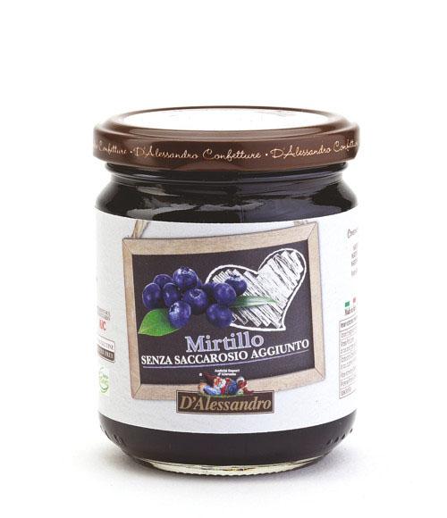 Конфитюр из черники без добавления сахара 230 г, Confettura di mirtilli senza zucchero, D Alessandro confetture 230 gr