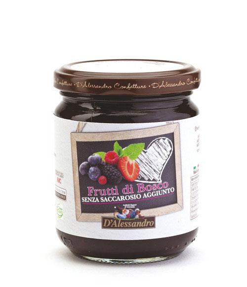 Конфитюр из лесных ягод без сахара 230 г, Confettura di Frutti di bosco senza zucchero, D'Alessandro confetture 230 gr