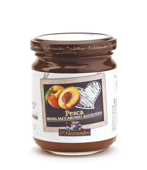 Конфитюр из персиков без добавления сахара 230 г, Confettura di pesche senza zucchero, D Alessandro confetture 230gr