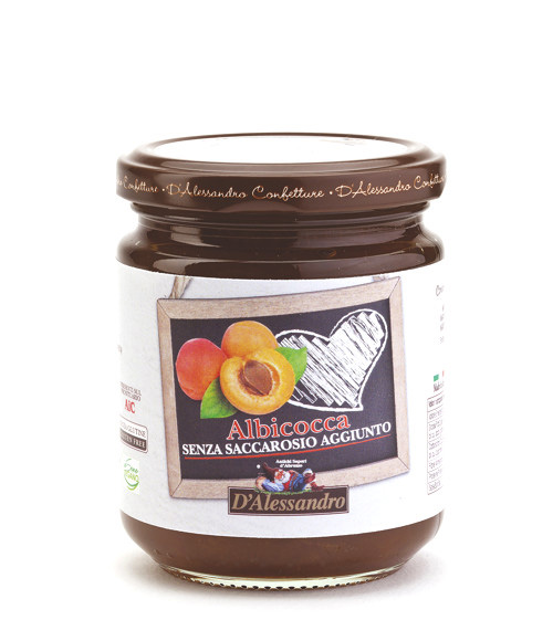 Конфитюр из абрикоса без добавления сахара 230 г, Confettura di albicocca senza zucchero, D Alessandro confetture 230 gr