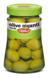 Оливки зеленые гигантские 470 г, Olive verdi Giganti D'Amico 470 gr.