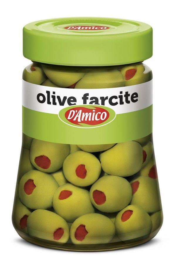 Оливки фаршированные перцем 290 г, Olive farcite salamoia D'Amico 290 gr