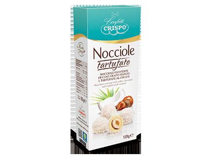 Фундук в белом шоколаде с кокосовой стружкой 130 г, Nocciole tartufate al cocco, Confetti Crispo, 130 gr