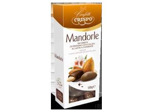 Миндаль в молочном и темном шоколаде 130 г, Mandorle ricoperti di cioccolato al latte e fondente, Confetti Crispo, 130 gr