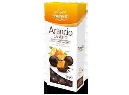 Апельсин в темном шоколаде 130 г, Arancio candito ricoperto di cioccolato fondente, Confetti Crispo, 130 gr