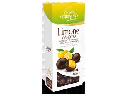 Лимон в темном шоколаде 130 г, Limone candito ricoperto di cioccolato fondente, Confetti Crispo, 130 gr