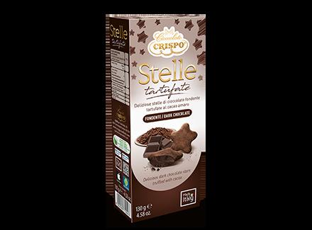 Конфеты из темного шоколада Трюфельные звезды 130 г, Stelle tartufate fondente, Confetti Crispo, 130 gr