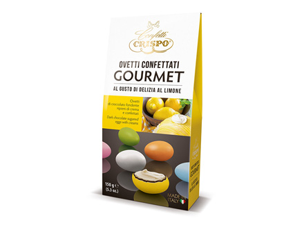 Шоколадное драже с кремом Лимон 150 г, Ovetti confettati gourmet al gusto di limone, Confetti Crispo, 150 gr