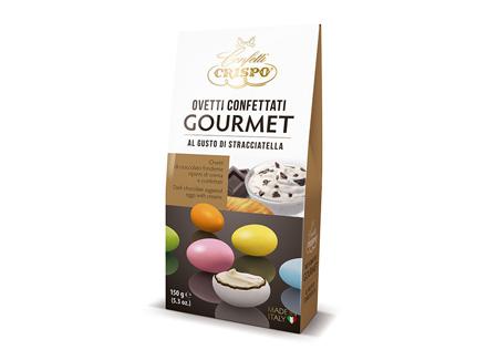 Шоколадное драже с кремом Страчателла 150 г, Ovetti confettati gourmet al gusto di stracciatella, Confetti Crispo, 150 gr
