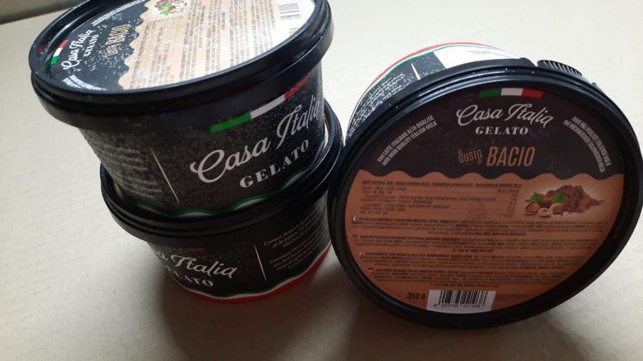 Мороженое шоколадно-ореховое с цельным фундуком 350 г, Gelato Bacio, Casa Italia 350 g